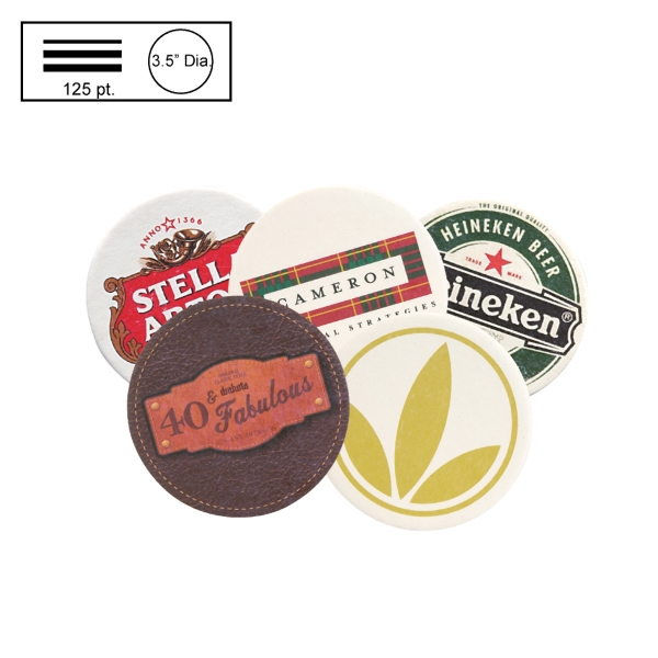 "3.5"" Circle Heavy Weight Pulpboard Coaster w/4 Color Process"