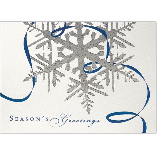 Silver Snowflake & Blue Ribbon Greeting Card - Silver Snowflake & Blue Ribbon Greeting Card