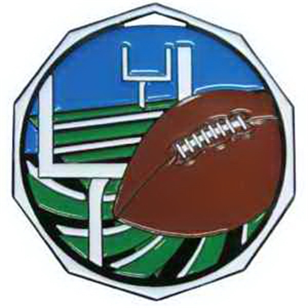 "2"" Decagon Colored Medal FOOTBALL"