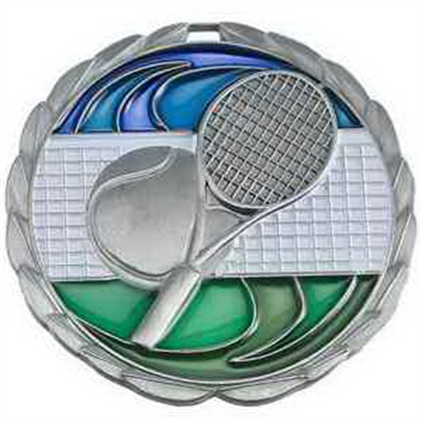 "2 1/2"" Color Epoxy Medallion TENNIS in Silver"