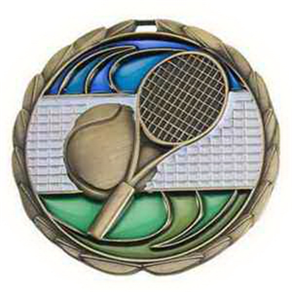"2 1/2"" Color Epoxy Medallion TENNIS in Gold"