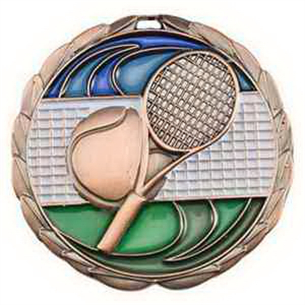 "2 1/2"" Color Epoxy Medallion TENNIS in Bronze"