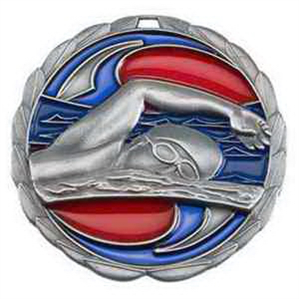 "2 1/2"" Color Epoxy Medallion SWIMMING in Silver"