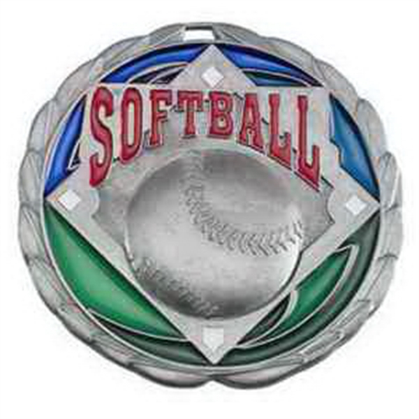 "2 1/2"" Color Epoxy Medallion SOFTBALL in Silver"