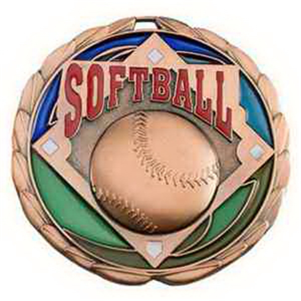 "2 1/2"" Color Epoxy Medallion SOFTBALL in Bronze"