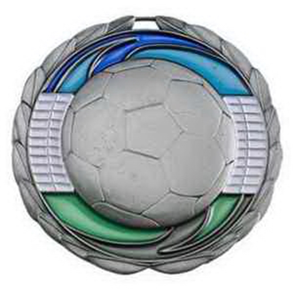 "2 1/2"" Color Epoxy Medallion SOCCER in Silver"