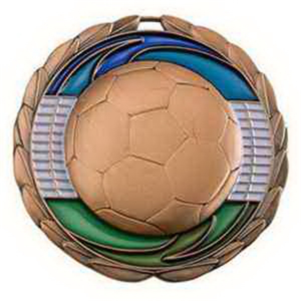 "2 1/2"" Color Epoxy Medallion SOCCER in Bronze"