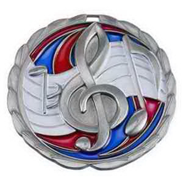 "2 1/2"" Color Epoxy Medallion MUSIC in Silver"