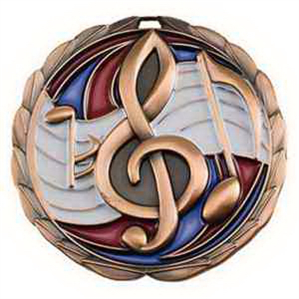 "2 1/2"" Color Epoxy Medallion MUSIC in Bronze"