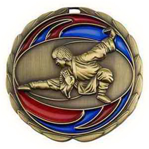 "2 1/2"" Color Epoxy Medallion MARTIAL ARTS in Gold"