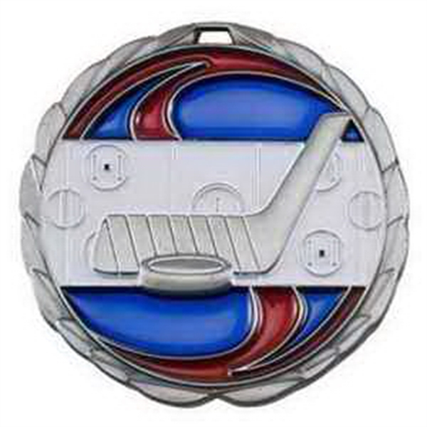 "2 1/2"" Color Epoxy Medallion HOCKEY in Silver"