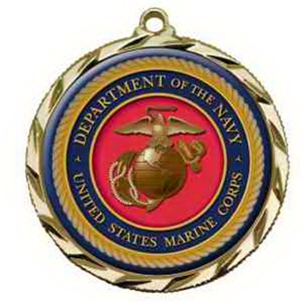 "2 1/2"" Vibraprint Insert Medal in Gold with coin edge"