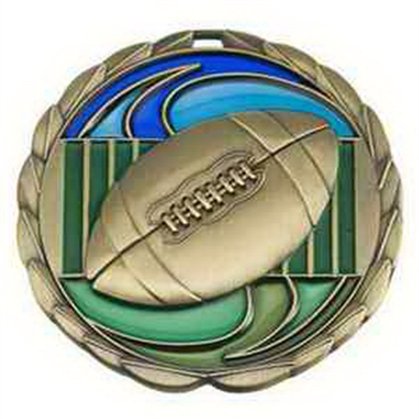 "2 1/2"" Color Epoxy Medallion FOOTBALL in Silver"