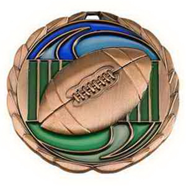 "2 1/2"" Color Epoxy Medallion FOOTBALL in Bronze"