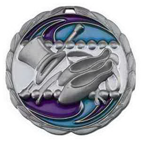 "2 1/2"" Color Epoxy Medallion DANCE in Silver"