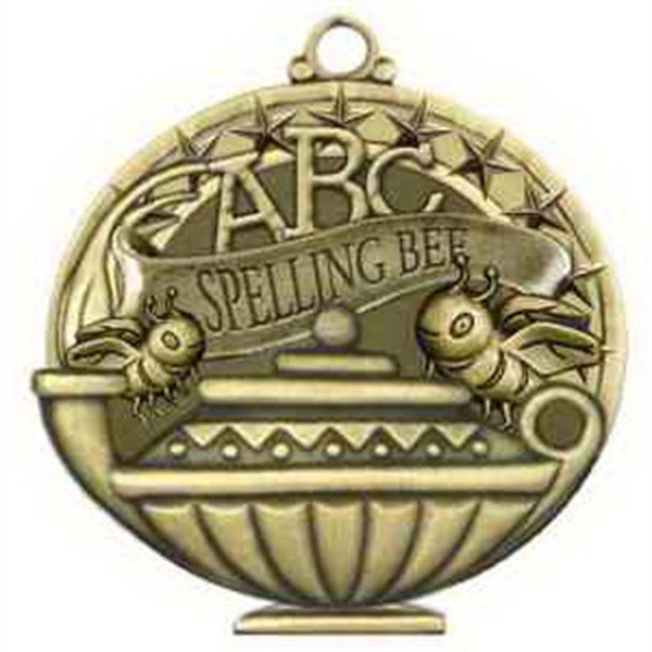 "2"" Academic Performance Medal SPELLING BEE in Gold"