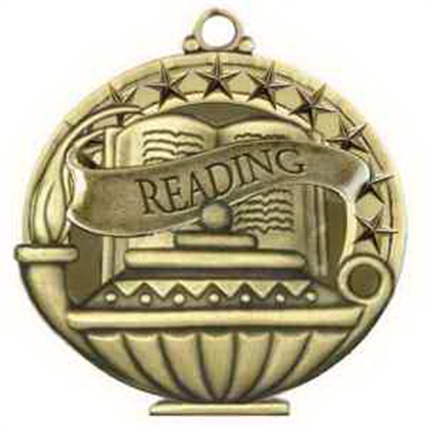 "2"" Academic Performance Medal READING in Gold"