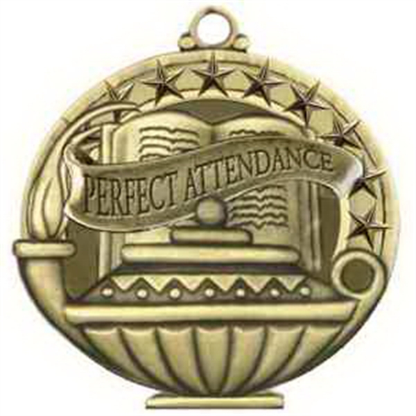 "2"" Academic Performance Medal PERFECT ATTENDANCE in Gold"