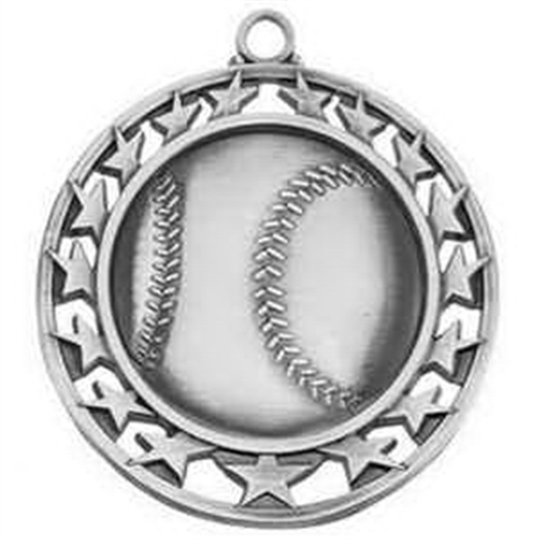 "2 1/2"" Super Star Medal BASEBALL in Silver"