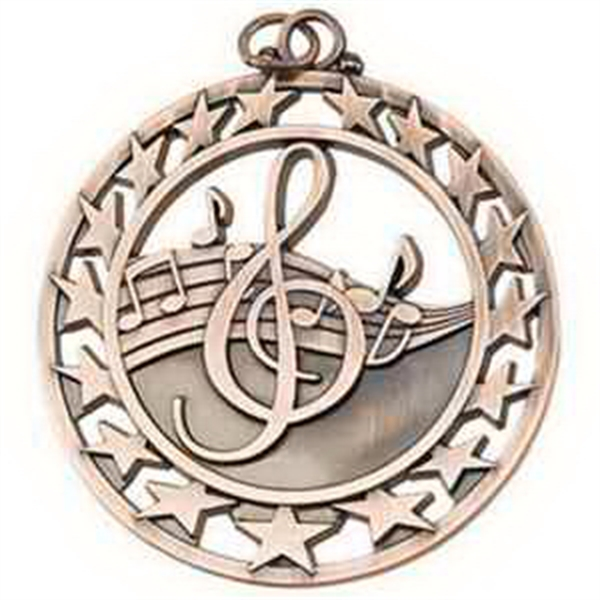 "2 1/2"" Super Star Medal MUSIC in Bronze"