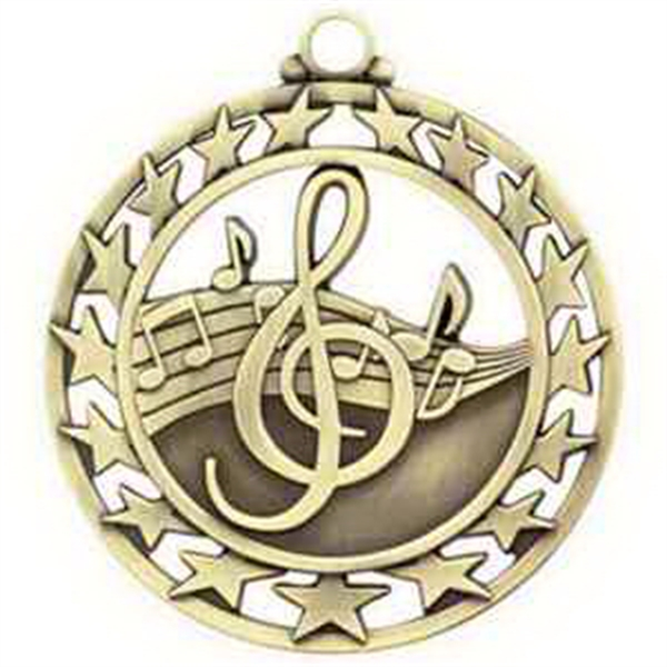 "2 1/2"" Super Star Medal MUSIC in Gold"
