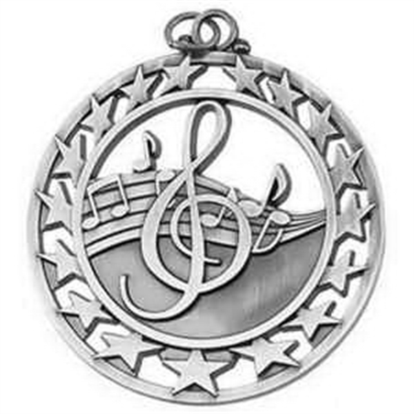 "2 1/2"" Super Star Medal MUSIC in Silver"