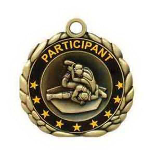 """2 1/2"""" Antique Gold QCM Medal WRESTLING"""
