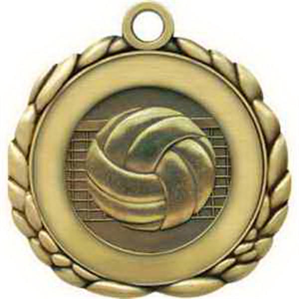 "2 1/2"" Antique Gold QCM Medal VOLLEYBALL"