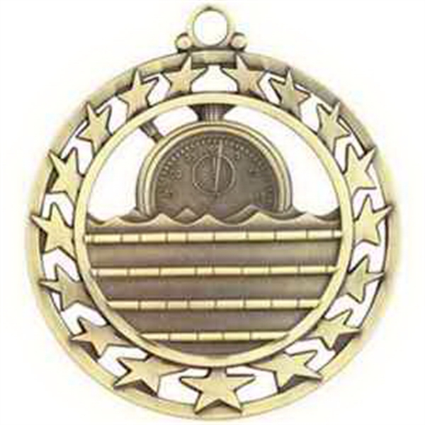 "2 1/2"" Super Star Medal SWIMMING in Gold"