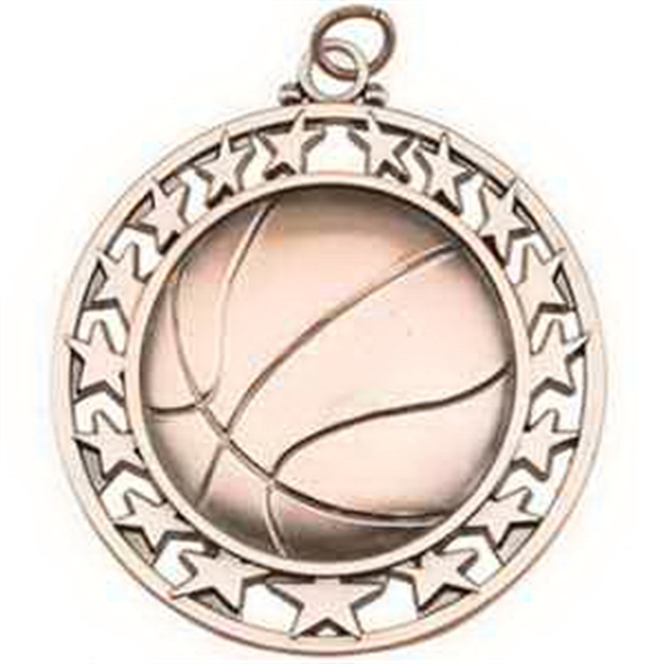 "2 1/2"" Super Star Medal BASKETBALL in Bronze"