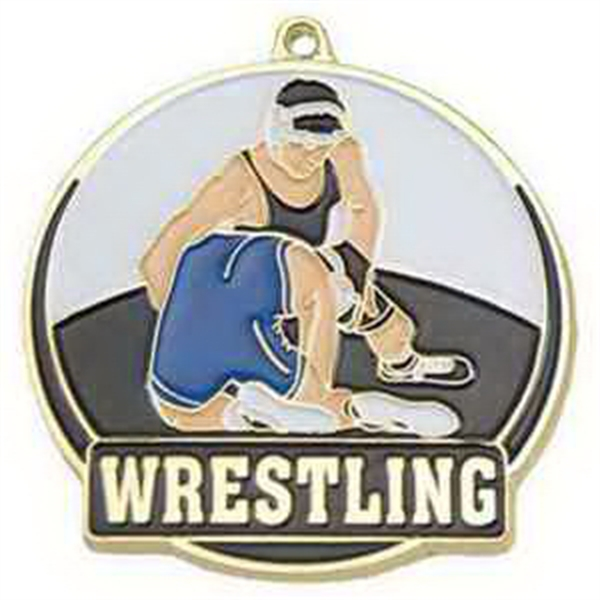 "2"" High Tech Medallion WRESTLING in Gold"