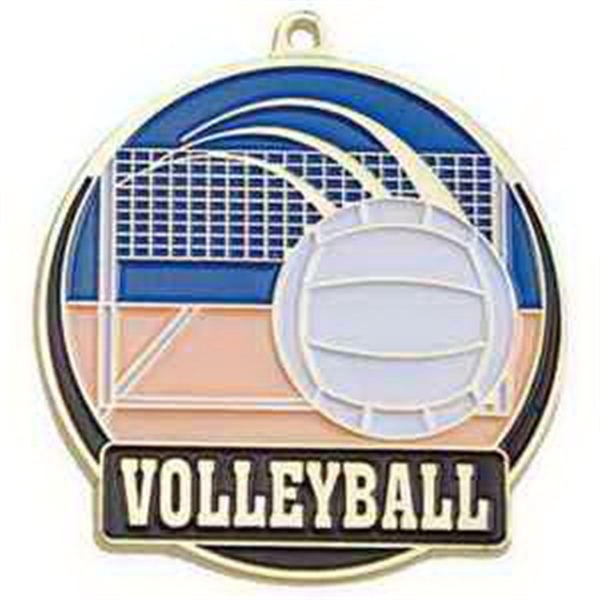 "2"" High Tech Medallion VOLLEYBALL in Gold"