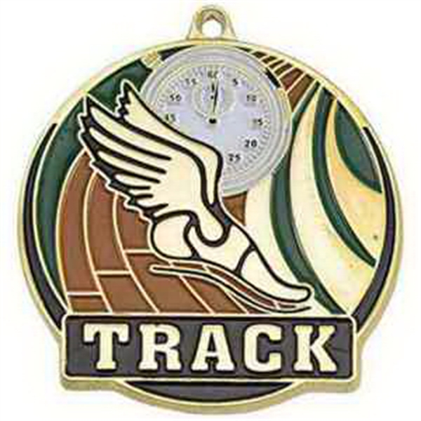 "2"" High Tech Medallion TRACK in Gold"