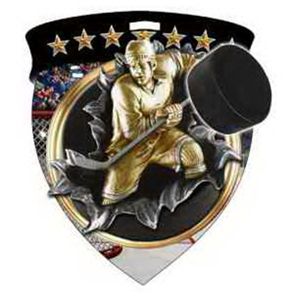 "3"" Color Shield Medallion HOCKEY SHIELD MEDAL"