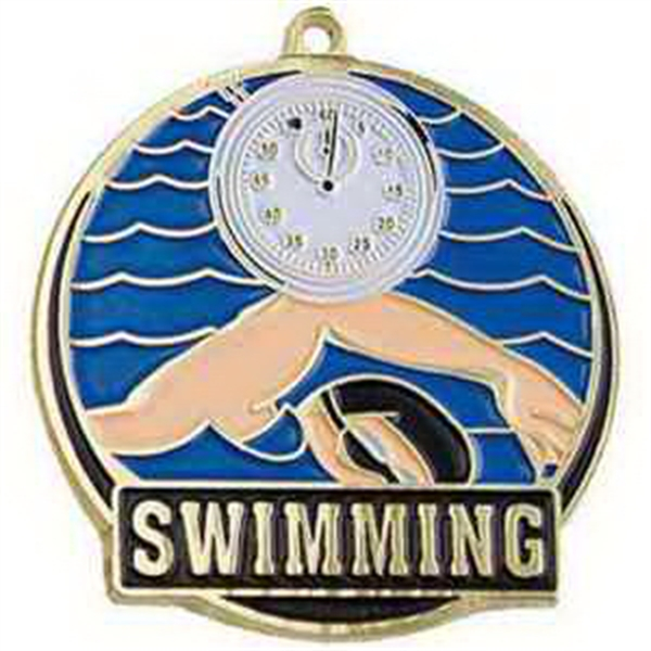 "2"" High Tech Medallion SWIMMING in Gold"