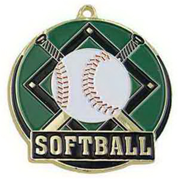 "2"" High Tech Medallion SOFTBALL in Gold"