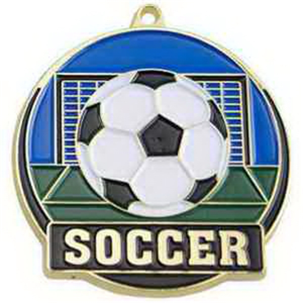 "2"" High Tech Medallion SOCCER in Gold"