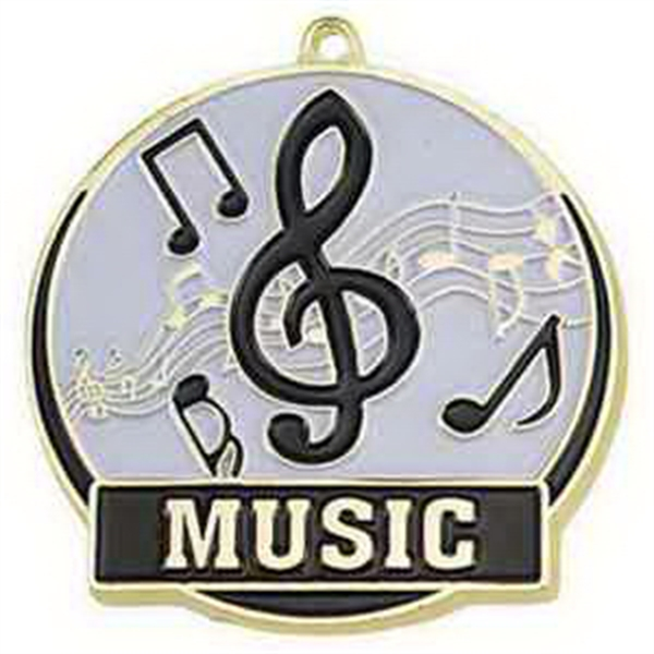 "2"" High Tech Medallion MUSIC in Gold"