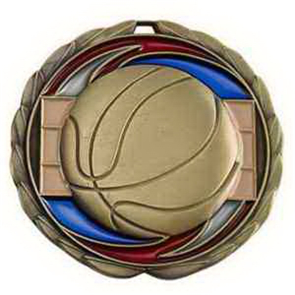 "2 1/2"" Color Epoxy Medallion BASKETBALL in Gold"
