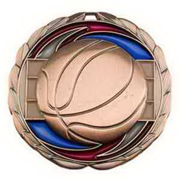 "2 1/2"" Color Epoxy Medallion BASKETBALL in Bronze"
