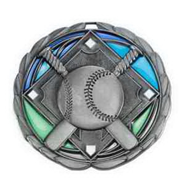 "2 1/2"" Color Epoxy Medallion BASEBALL in Silver"