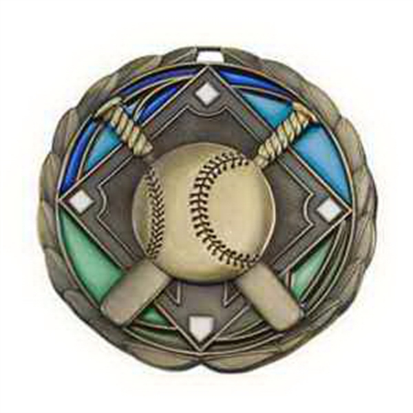 "2 1/2"" Color Epoxy Medallion BASEBALL in Gold"