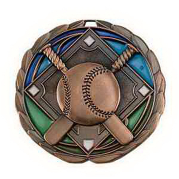 "2 1/2"" Color Epoxy Medallion BASEBALL in Bronze"