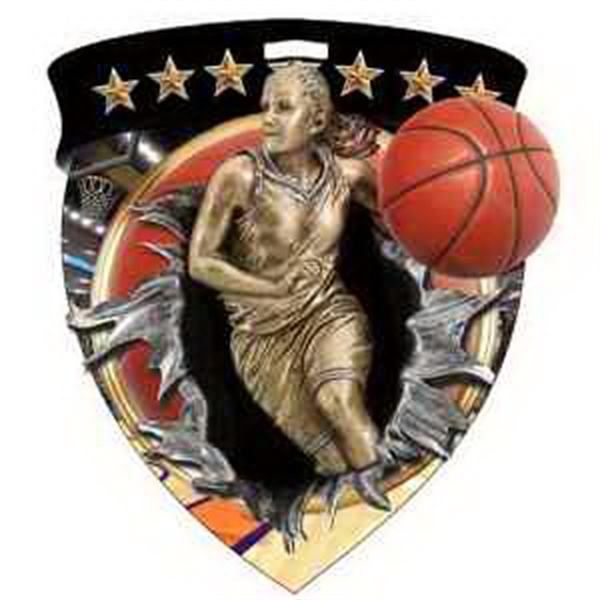 "3"" Color Shield Medallion BASKETBALL (Female)"