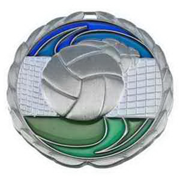 "2 1/2"" Color Epoxy Medallion VOLLEYBALL in Silver"
