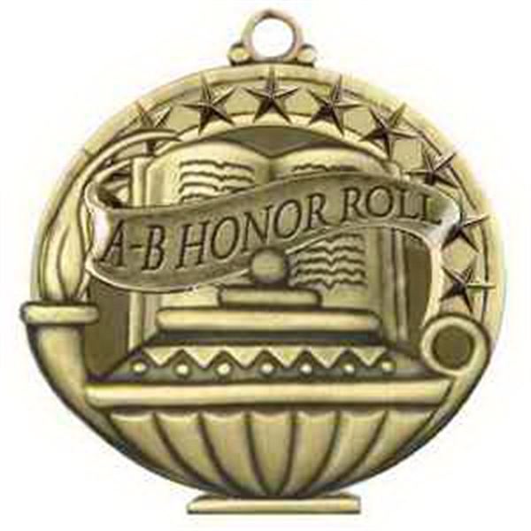 "2"" Academic Performance Medal A-B HONOR ROLL in Gold"