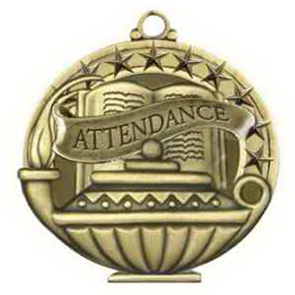 "2"" Academic Performance Medal ATTENDANCE in Gold"