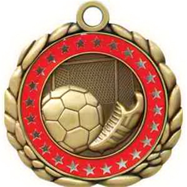 "2 1/2"" Antique Gold QCM Medal SOCCER"