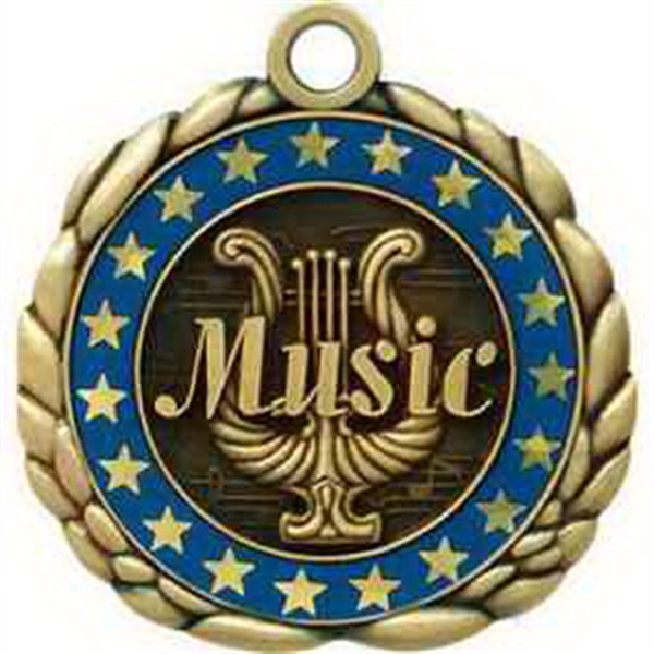 "2 1/2"" Antique Gold QCM Medal MUSIC"