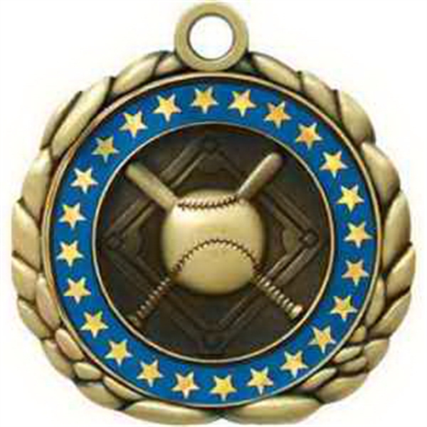"2 1/2"" Antique Gold QCM Medal BASEBALL"